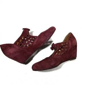 Jeffrey Campbell Red Wine Suede Wedge cutout Shoes